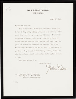 JOHN W. WEEKS - TYPED LETTER SIGNED 08/17/1923