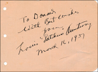 Autographs: LOUIS SATCHMO ARMSTRONG - AUTOGRAPH NOTE SIGNED 03/16/1937