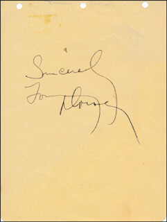 TOMMY DORSEY - AUTOGRAPH SENTIMENT SIGNED