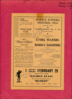 Autographs: MAMBA'S DAUGHTERS PLAY CAST - SHOW BILL SIGNED CIRCA 1940 CO-SIGNED BY: ETHEL WATERS, GEORGIA BURKE