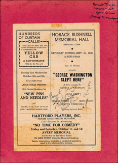GEORGE WASHINGTON SLEPT HERE PLAY CAST - SHOW BILL SIGNED CIRCA 1940 CO-SIGNED BY: MOSS HART, GEORGE S. KAUFMAN, ERNEST TRUEX, JEAN DIXON