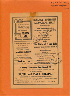 THE TIME OF YOUR LIFE PLAY CAST - INSCRIBED SHOW BILL SIGNED CIRCA 1941 CO-SIGNED BY: JULIE HAYDON, EDDIE DOWLING