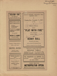 PLAY WITH FIRE PLAY CAST - SHOW BILL SIGNED CIRCA 1941 CO-SIGNED BY: HENRY HULL, REGINALD DENHAM