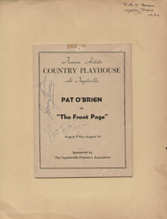 THE FRONT PAGE PLAY CAST - SHOW BILL SIGNED CIRCA 1954 CO-SIGNED BY: PAT O'BRIEN, JERRY PARIS