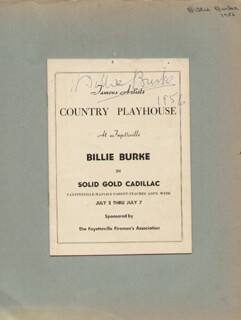 BILLIE BURKE - SHOW BILL SIGNED 1956