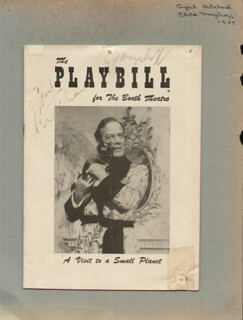 Autographs: A VISIT TO A SMALL PLANET PLAY CAST - SHOW BILL SIGNED CIRCA 1957 CO-SIGNED BY: CYRIL RITCHARD, EDDIE MAYEHOFF
