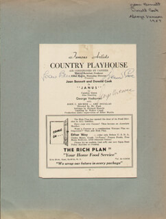 JANUS - PLAY CAST - SHOW BILL SIGNED CIRCA 1957 CO-SIGNED BY: JOAN BENNETT, DONALD COOK, GEORGE VOSKOVEC