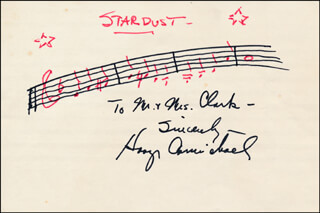 HOAGY CARMICHAEL - INSCRIBED AUTOGRAPH MUSICAL QUOTATION SIGNED