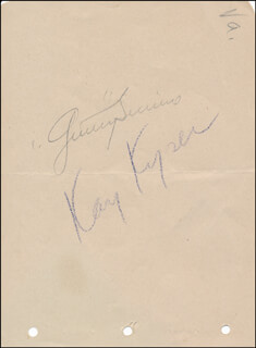 KAY KYSER - AUTOGRAPH CO-SIGNED BY: GINNY SIMMS