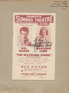 THE WAYWARD STORK PLAY CAST - INSCRIBED SHOW BILL SIGNED CIRCA 1964 CO-SIGNED BY: MARJORIE LORD, HAL MARCH, RICHARD ARMBRUSTER
