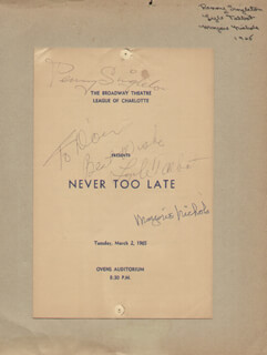 NEVER TOO LATE PLAY CAST - INSCRIBED SHOW BILL SIGNED CIRCA 1965 CO-SIGNED BY: PENNY SINGLETON, LYLE TALBOT, MARJORIE NICHOLS