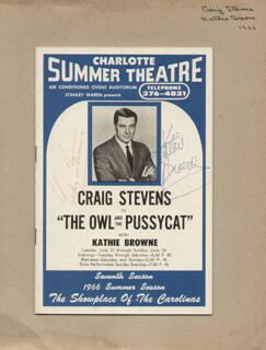 THE OWL AND THE PUSSYCATPLAY CAST - SHOW BILL SIGNED CIRCA 1966 CO-SIGNED BY: KATHIE BROWNE, CRAIG STEVENS