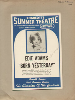 Autographs: EDIE ADAMS - SHOW BILL SIGNED CIRCA 1966