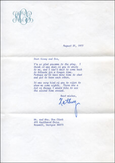 KATHRYN GRANT CROSBY - TYPED LETTER SIGNED 08/31/1977