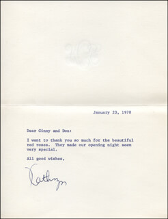 KATHRYN GRANT CROSBY - TYPED LETTER SIGNED 01/20/1978