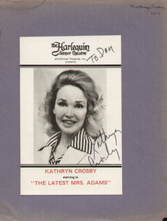 KATHRYN GRANT CROSBY - INSCRIBED SHOW BILL SIGNED CIRCA 1977