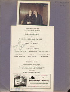 CARROLL BAKER - SHOW BILL SIGNED CIRCA 1977