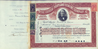 Autographs: THOMAS A. EDISON - STOCK CERTIFICATE SIGNED AND ENDORSED 08/19/1899 CO-SIGNED BY: WALTER S. MALLORY, CHARLES S. SING