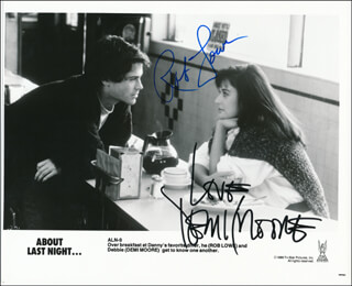 Autographs: ABOUT LAST NIGHT MOVIE CAST - PHOTOGRAPH SIGNED CO-SIGNED BY: DEMI MOORE, ROBERT ROB LOWE