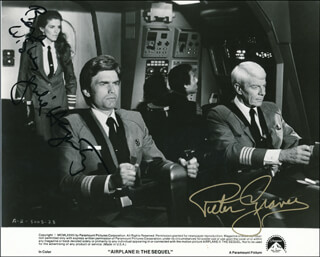 AIRPLANE II: THE SEQUEL MOVIE CAST - PRINTED PHOTOGRAPH SIGNED IN INK CO-SIGNED BY: PETER GRAVES, JULIE HAGERTY