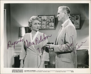 Autographs: ACCUSED OF MURDER MOVIE CAST - PHOTOGRAPH SIGNED 07/14/1984 CO-SIGNED BY: VERA H. RALSTON, DAVID BRIAN