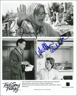 TORCH SONG TRILOGY MOVIE CAST - PRINTED PHOTOGRAPH SIGNED IN INK CO-SIGNED BY: MATTHEW BRODERICK, ANNE BANCROFT