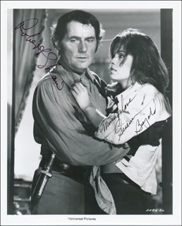 SWASHBUCKLER MOVIE CAST - PRINTED PHOTOGRAPH SIGNED IN INK CO-SIGNED BY: GENEVIEVE BUJOLD, ROBERT SHAW