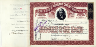 Autographs: THOMAS A. EDISON - STOCK CERTIFICATE SIGNED AND ENDORSED 08/19/1899 CO-SIGNED BY: WALTER S. MALLORY