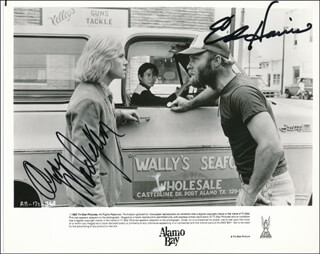 Autographs: ALAMO BAY MOVIE CAST - PHOTOGRAPH SIGNED CO-SIGNED BY: AMY MADIGAN, ED HARRIS