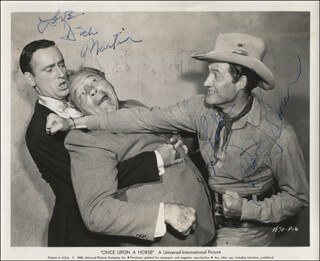 ONCE UPON A HORSE MOVIE CAST - AUTOGRAPHED SIGNED PHOTOGRAPH CO-SIGNED BY: ROWAN & MARTIN (DICK MARTIN), ROWAN & MARTIN (DAN ROWAN)