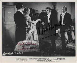 SONG WITHOUT END MOVIE CAST - AUTOGRAPHED SIGNED PHOTOGRAPH CO-SIGNED BY: CAPUCINE, DIRK BOGARDE