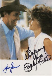 MURPHY'S ROMANCE MOVIE CAST - AUTOGRAPHED INSCRIBED PHOTOGRAPH CO-SIGNED BY: JAMES GARNER, SALLY FIELD