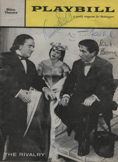 THE RIVALRY PLAY CAST - SHOW BILL SIGNED CO-SIGNED BY: RICHARD BOONE, NANCY KELLY, MARTIN GABEL