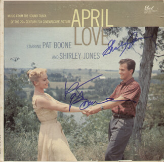 APRIL LOVE MOVIE CAST - RECORD ALBUM COVER SIGNED CO-SIGNED BY: PAT BOONE, SHIRLEY JONES