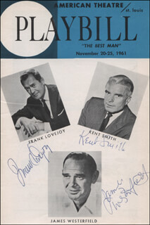THE BEST MAN PLAY CAST - SHOW BILL SIGNED CO-SIGNED BY: KENT SMITH, RUTH MCDEVITT, FRANK LOVEJOY, KATHLEEN MAGUIRE, LEORA DANA, JAMES WESTERFIELD