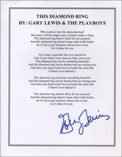 GARY LEWIS AND THE PLAYBOYS (GARY LEWIS) - TYPED LYRIC(S) SIGNED
