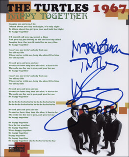 THE TURTLES - PRINTED LYRICS SIGNED IN INK CO-SIGNED BY: HOWARD KAYLAN, MARK VOLMAN - HFSID 322206