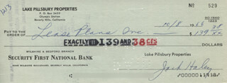 JACK HALEY SR. - AUTOGRAPHED SIGNED CHECK 10/08/1966