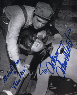Autographs: BATMAN TV CAST - INSCRIBED PHOTOGRAPH SIGNED CO-SIGNED BY: ADAM WEST, MALACHI THRONE