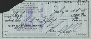 HOWARD KEEL - AUTOGRAPHED SIGNED CHECK 07/10/1974