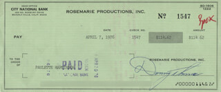 DANNY THOMAS - AUTOGRAPHED SIGNED CHECK 04/07/1976