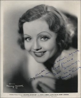 NANCY CARROLL - AUTOGRAPHED INSCRIBED PHOTOGRAPH