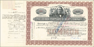 Autographs: GOVERNOR CHARLES EDISON - STOCK CERTIFICATE SIGNED 10/13/1926