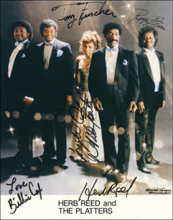 HERB REED AND THE PLATTERS - AUTOGRAPHED SIGNED PHOTOGRAPH CO-SIGNED BY: THE PLATTERS (HERB REED), THE PLATTERS (BILLIE COX), THE PLATTERS (TONY FUNCHES), THE PLATTERS (ROBERT MOORE), THE PLATTERS (D.D. MARTIN)