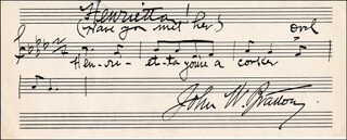 JOHN W. BRATTON - AUTOGRAPH MUSICAL QUOTATION SIGNED