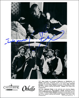 OTHELLO MOVIE CAST - PRINTED PHOTOGRAPH SIGNED IN INK CO-SIGNED BY: LAURENCE FISHBURNE, IRENE JACOB