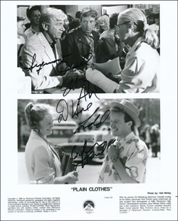 PLAIN CLOTHES MOVIE CAST - PRINTED PHOTOGRAPH SIGNED IN INK CO-SIGNED BY: DIANE LADD, SEYMOUR CASSEL, SUZY AMIS, ARLISS HOWARD