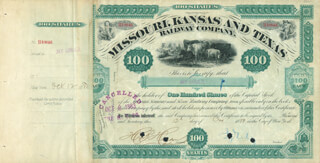 Autographs: JAY GOULD - STOCK CERTIFICATE TWICE SIGNED 10/12/1880