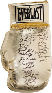 LEON SPINKS - BOXING GLOVE SIGNED CO-SIGNED BY: BOB THE DEPUTY SHERIFF FOSTER, GENE CYCLONE FULLMER, JOEY MAXIM, JOHN AMOS, CARLOS ORTIZ, CARLOS PALOMINO, MICHAEL SPINKS, EMILE GRIFFITH, CARMEN BASILIO, WILLIE WILL O' THE WISP PEP, JOEY GIARDELLO, AARON PRYOR, CARLOS ZARATE, BERT SUGAR, TONY DEMARCO, MICHAEL MOORER, EDDIE FUTCH, BUSTER MATHIS, BUTCH LEWIS, DOUG DEWITT