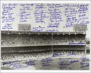 THE NEW YORK YANKEES - AUTOGRAPHED SIGNED PHOTOGRAPH CO-SIGNED BY: ART DITMAR, RON ROCKY SWOBODA, BILLY GARDNER, JIM COATES, BILL MOOSE SKOWRON, ANDY CAREY, CLETE BOYER, HECTOR LOPEZ, JOHNNY BLANCHARD, RYNE DUREN, LONNY JUNIOR FREY, FRANK CROSETTI, MARIUS LEFTY RUSSO, JOHNNY SAIN, TOMMY BYRNE, EDDIE (WILLIAM EDWARD) ROBINSON, ALLIE CLARK, JOE PEPI PEPITONE, AL LITTLE AL DOWNING, BILL STAFFORD, JESSE GONDER, JOHNNY JAMES, JACK REED, LUIS YO-YO ARROYO, ROLLIE SHELDON, BOB CERV, TEX CLEVENGER, FRED SANFORD, BILLY BULL JOHNSON, BERNIE ALLEN, SPECS THE NAUGATUCK NUGGET SHEA, LEE (JAMES L.) THOMAS, WHITEY FORD, BOB HALE, RALPH HOUK, PHIL SUPERSUB LINZ, TOM CARROLL, IRV NOREN, JOHNNY BEAR TRACKS SCHMITZ, JIM DELSING, SPARKY LYLE, GIL McDOUGALD, PHIL RIZZUTO, TOMMY HENRICH, E